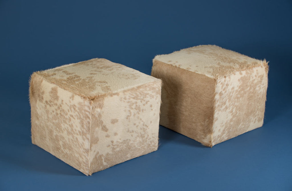 Cowhide Cube #7 & #8 with Invisible Button Glides 50x50x40cm