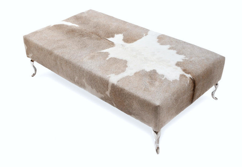 Cowhide Ottoman with Queen Anne Curved Aluminium Legs 130x70x36cm