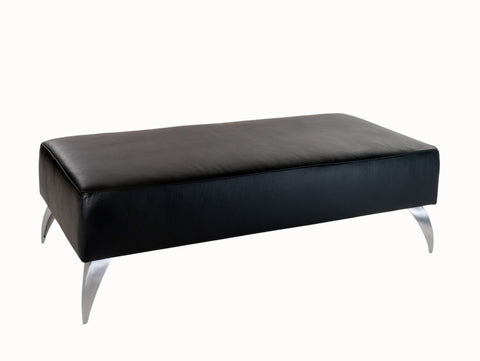 Black Leather Ottoman with Metal Legs 120x60x38cm