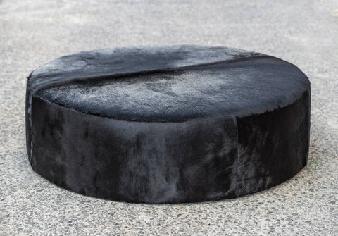 Image of Black Cowhide Ottoman Large Deep Round 130x130x35cm