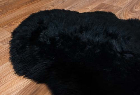Image of Black Dyed Single Longwool Sheepskin Rug