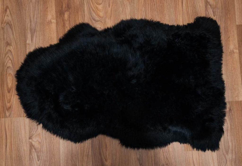 Black Dyed Single Longwool Sheepskin Rug