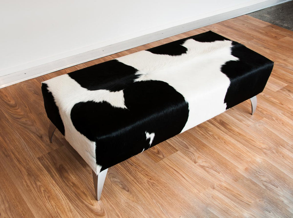 Cowhide Black & White Ottoman with Metal Legs 120x50x40cm