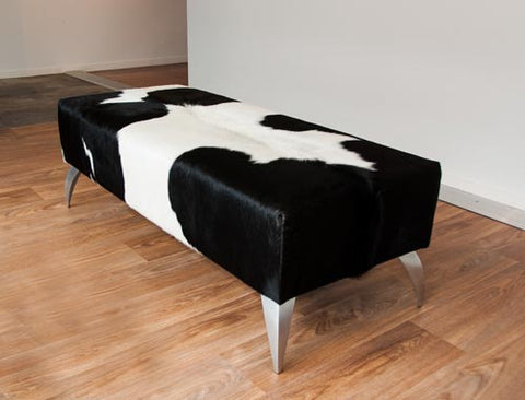 Image of Cowhide Black & White Ottoman with Metal Legs 120x50x40cm