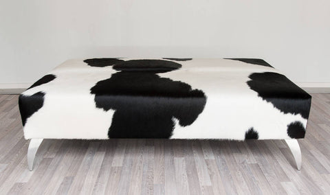 Image of Cowhide Black & White Ottoman with Metal Legs 140x90x40cm