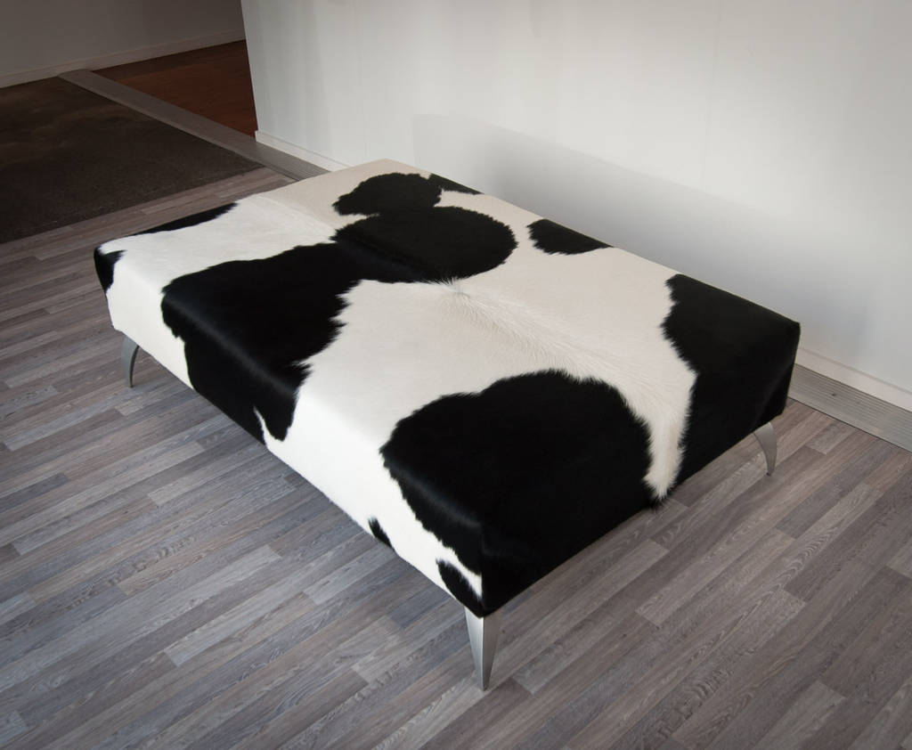 Cowhide Black & White Ottoman with Metal Legs 140x90x40cm