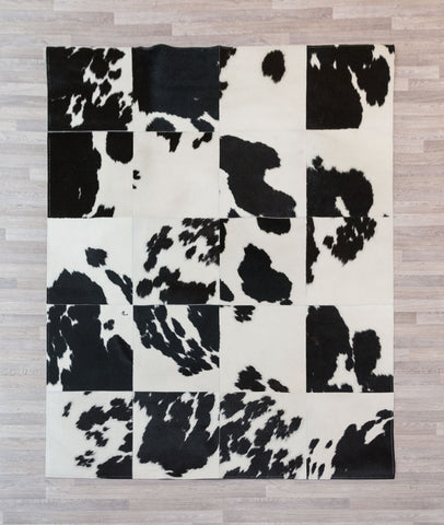 Image of Black & White Cowhide Patchwork Rug 40cm Squares - 1.6m x 2.0m