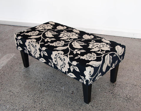 Black Floral Fabric Ottoman with Wood Legs 95x50x32cm