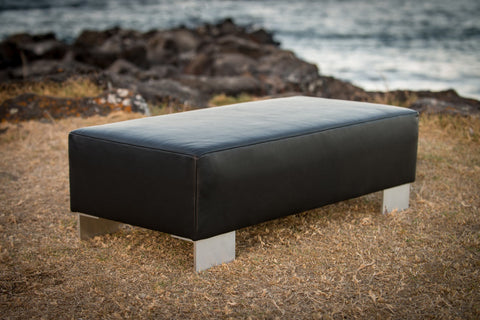 Image of Black Leather Ottoman with Metal Legs 110x55x35cm