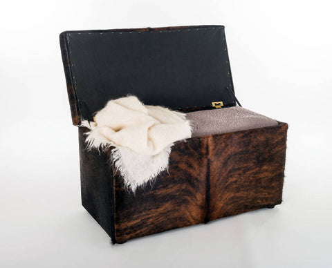 Image of Storage ottoman in cowhide by Gorgeous Creatures