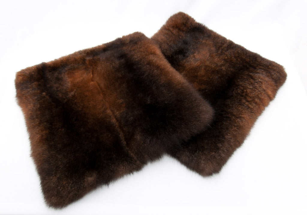 Reddish brown NZ possum fur cushion covers