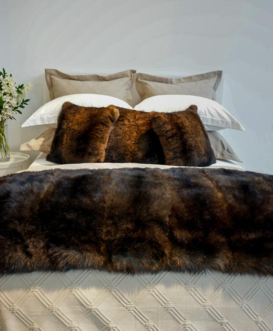 Image of Reddish brown NZ possum fur cushion covers