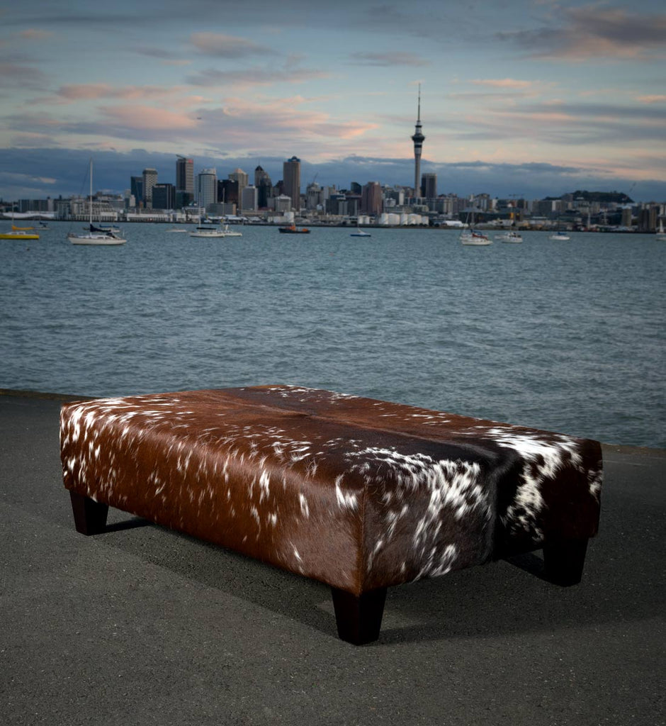 Cowhide Ottoman with Wood Legs 120x80x35cm