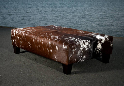 Image of Cowhide Ottoman with Wood Legs 120x80x35cm