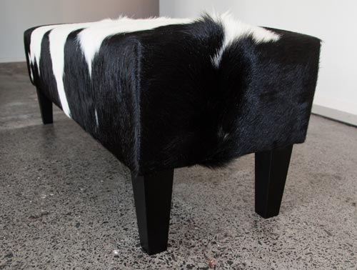 Cowhide Bench Ottoman with Wood Legs 120x38x40cm