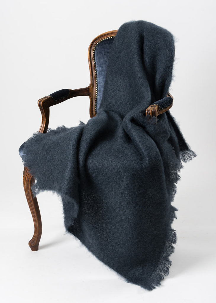 Charcoal Grey Mohair Throw Blanket