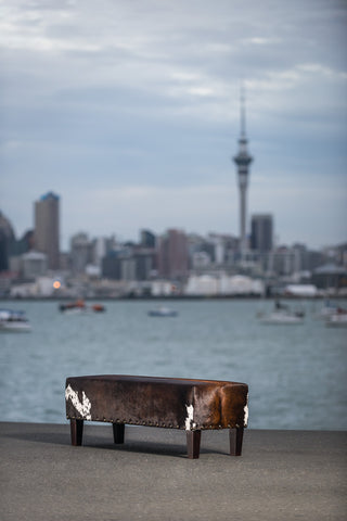 Cowhide Bench Ottoman #2 with Wood Legs 120x40x40cm