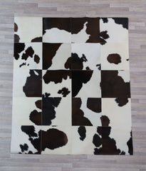 Chocolate & White Cowhide Patchwork Rug 40cm Squares - 1.6m x 2.0m