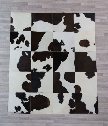 Image of Chocolate & White Cowhide Patchwork Rug 40cm Squares - 1.6m x 2.0m