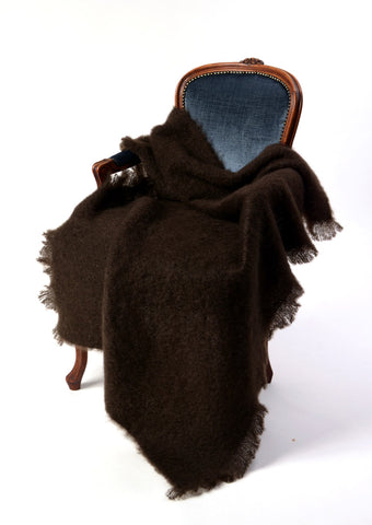 Image of A Windermere mohair chair throw dark rich chocolate brown.
