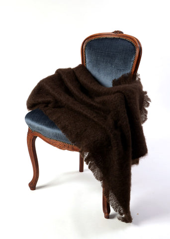 Image of Mohair Throw Australia - Windermere mohair chair throw chocolate brown