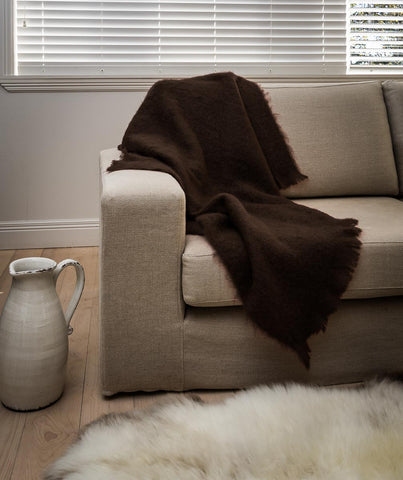 Image of Mohair Throw New Zealand  - Windermere mohair chair throw chocolate brown