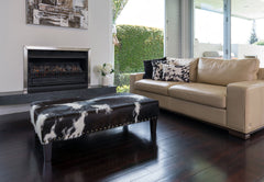 Cowhide Ottoman with Wood Legs & Studs 120x65x38cm
