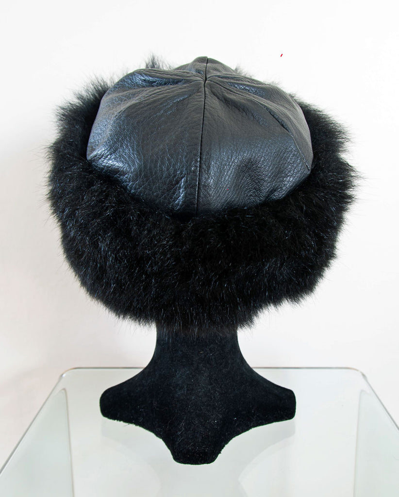 4073e516ed1 Russian Cossack Possum Fur   Leather Hat - Black. Tap to expand
