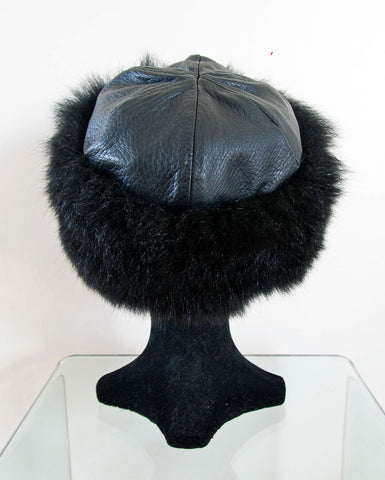 Russian Cossack Possum Fur & Leather Hat - Black