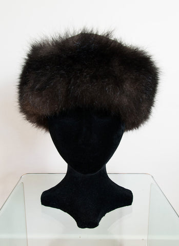Russian Cossack Possum Fur & Leather Hat - Brown