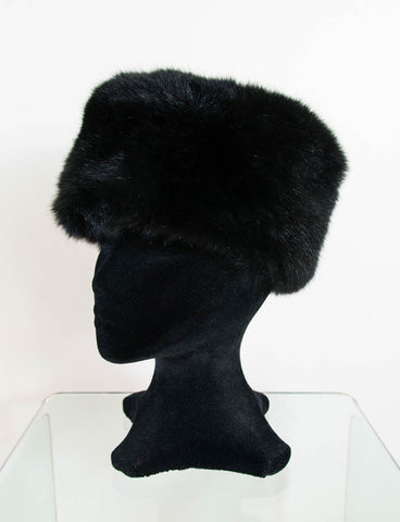 Image of Russian Cossack Shorter Design Possum Fur Hat - Black