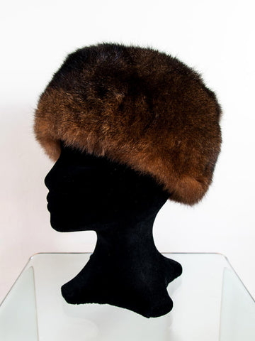 Russian Cossack Shorter Possum Fur Hat - Reddish Brown