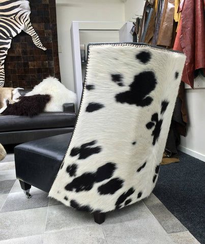 Leather & Cowhide Feature Wing-Back Chair