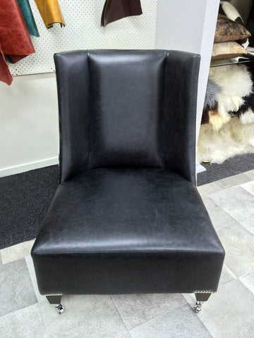 Image of Leather & Cowhide Feature Wing-Back Chair