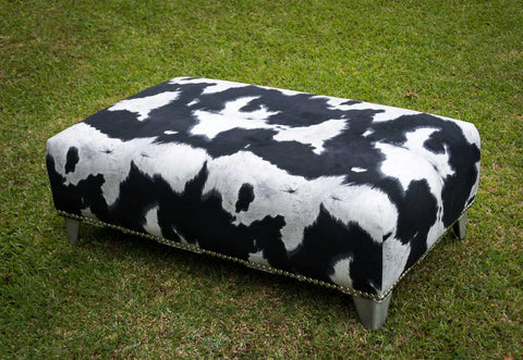 Faux Cowhide Fabric Ottoman with Metal Legs 120x70x38cm