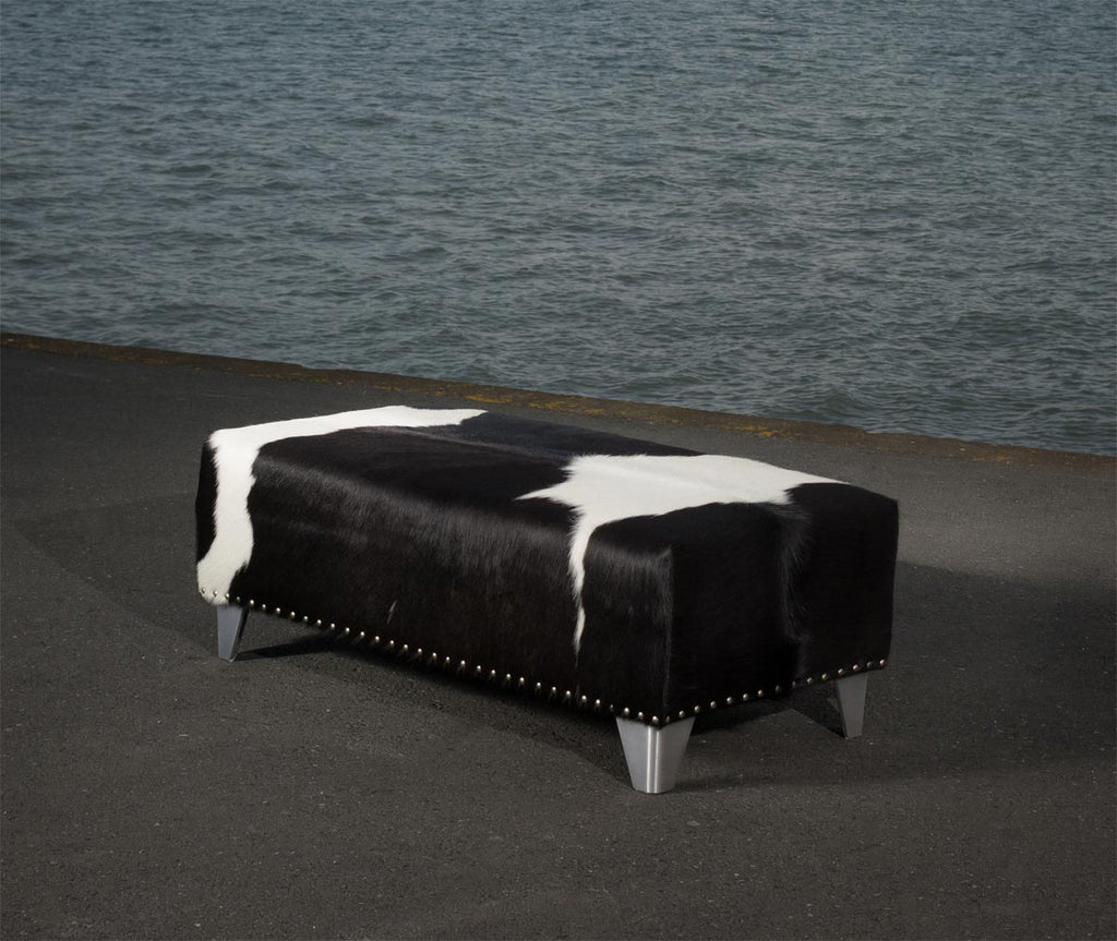 Cowhide Ottoman with Metal Studs and Cuban Legs 100x50x35cm