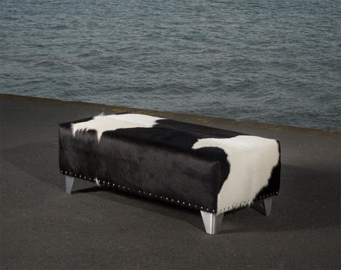 Image of Cowhide Ottoman with Metal Studs and Cuban Legs 100x50x35cm