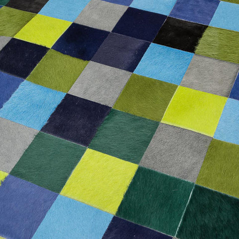 Pixel Patchwork Rug - Greens & Blues Cool Tones 10cm Squares - 1.5m x 2m