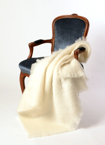 Image of Windermere Cream Mohair Throw Blanket