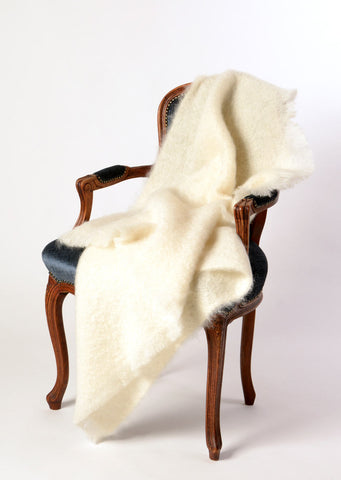 Image of Windermere Cream Mohair Chair Throw