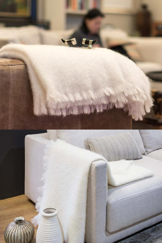 Windermere Cream Mohair Throw Blanket