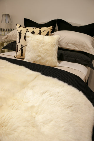 Cream possum fur cushions New Zealand