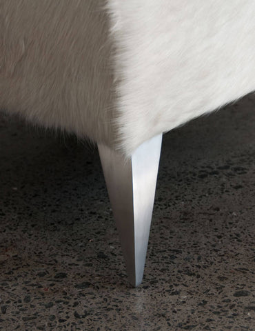 Image of Cowhide Ottoman with Curved Aluminium Legs 80x80x40cm