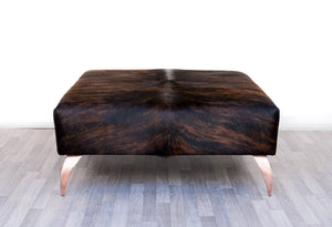 Cowhide Dark Exotic Ottoman with Copper Legs 120x90x38cm