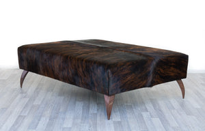 Cowhide Dark Exotic Ottoman with Curved Copper Legs 120x90x38cm