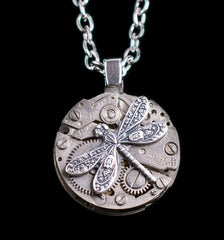 Small Round Dragonfly Pendant Necklace