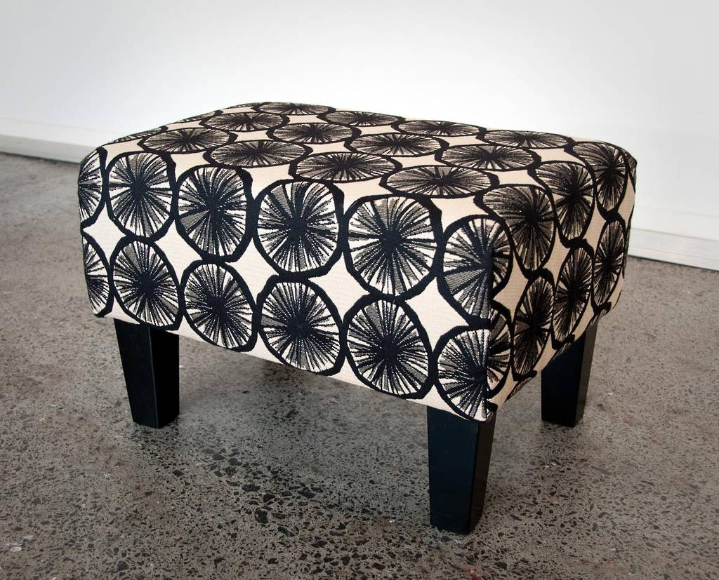 Fabric Footstool with Wood Legs 55x40x37cm