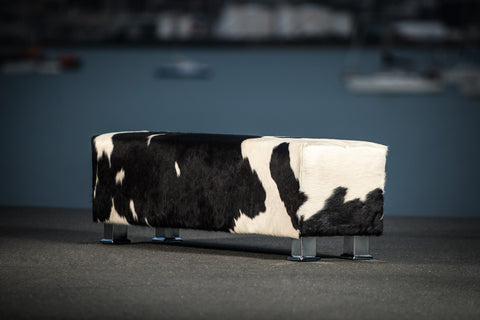Cowhide Bench Ottoman with Metal Legs 150x40x45cm