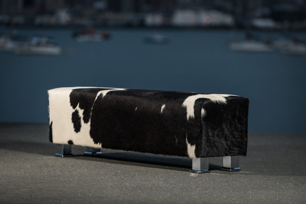 Cowhide bench ottoman with metal legs