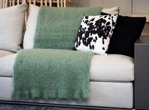 Windermere Olive or Sage Green Mohair Throw Blanket